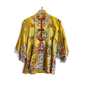 Vintage Esme Embroidered Silk/Rayon Chinese Robe